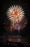 Multicolor fireworks night scene Royalty Free Stock Image