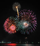 Multicolor fireworks night scene Royalty Free Stock Images