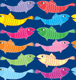 Multicolor Fish Seamless Pattern Stock Photography
