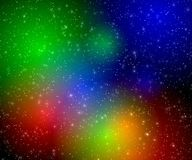 Multicolor flashes in space stock illustration