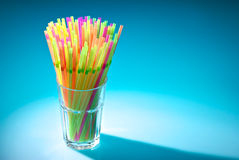 Multicolor flexible straws in the glass Royalty Free Stock Photo