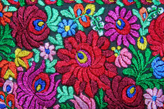 Multicolor floral hand embroidery pattern Stock Photos