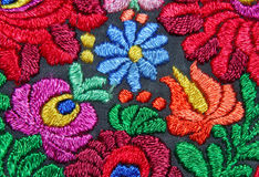Multicolor floral hand embroidery pattern Royalty Free Stock Photos