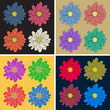 Multicolor flower set Stock Photography