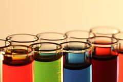 Multicolor fluid in test tubes Stock Image