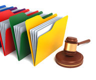 Multicolor Folders with Gavel. 3D Rendering Stock Photo