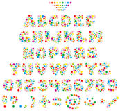Multicolor font for children. Vector text type made of color balls Stock Images