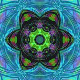 Symmetrical multicolor fractal floral mandala in tile stained glass style stock illustration