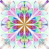 Multicolor fractal pattern in stained glass window style. Stock Images
