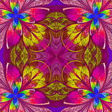 Multicolor fractal in stained glass window style. Stock Photography