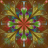 Multicolor fractal in stained glass window style. Royalty Free Stock Image
