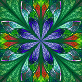 Multicolor fractal in stained glass window style. Royalty Free Stock Images