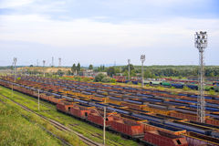 Multicolor freight trains on city cargo terminal. Royalty Free Stock Photo