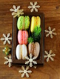 Multicolor French macaroons sweet Christmas present Stock Image