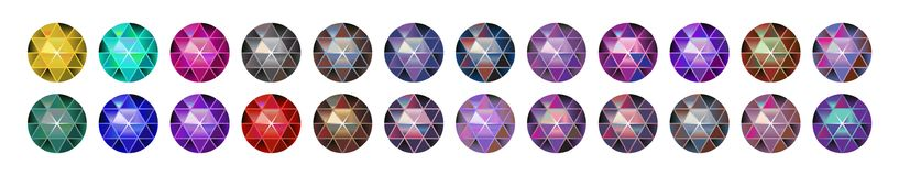 Multicolor gem stone, round diamonds on white. Polygonal vector ball. multicolor gradient. vector illustration