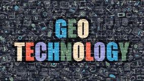 Multicolor Geo Technology on Dark Brickwall. Doodle Style. Royalty Free Stock Photos
