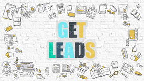 Multicolor Get Leads on White Brickwall. Doodle Style. Stock Photos