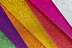 Glitter background. Multicolor glitter background with diagonal lines with selective focus Stock Images