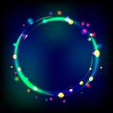 Multicolor glowing circle frame with sparkles. Stock Photography
