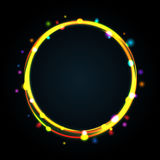 Multicolor glowing circle frame with sparkles. Royalty Free Stock Photography