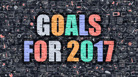 Multicolor Goals for 2017 on Dark Brickwall. Doodle Style. Royalty Free Stock Photos