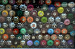 Multicolor Graffiti Spray Cans Royalty Free Stock Photography