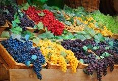 Multicolor grapes baskets stock photos