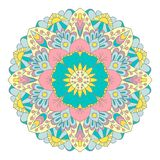 Multicolor graphic mandala with ethnic and floral motives vector illustration