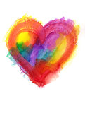 Multicolor grunge heart watercolor painting Stock Photo