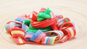 Multicolor gummy candy (licorice) rotating stock footage
