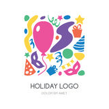 Multicolor hand drawn festival, party or carnival logo. Vector. Icons set. Gift, balloon, mask, hat, confetti symbols. Abstract holiday background Stock Photo