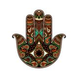Multicolor hand drawn illustration of a hamsa hand symbol. Hand of Fatima religious sign with all seeing eye. Vintage boho style. Vector illustration in doodle Royalty Free Stock Photos