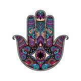 Multicolor hand drawn illustration of a hamsa hand symbol. Hand of Fatima religious sign with all seeing eye. Vintage boho style. Vector illustration in doodle Stock Images
