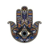Multicolor hand drawn illustration of a hamsa hand symbol. Hand of Fatima religious sign with all seeing eye. Vintage boho style. Vector illustration in doodle Stock Image