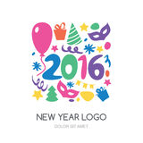 Multicolor hand drawn New Year 2016 logo. Vector icons set. Gift. Balloon, mask, Christmas tree, confetti symbols. Abstract holiday background stock illustration