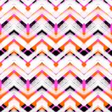 Multicolor hand drawn pattern zigzag. Multicolor hand drawn pattern with brushed zigzag lines. Vector seamless bold print with chevron ornament hand painted with Royalty Free Stock Photo