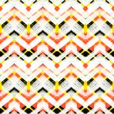 Multicolor hand drawn pattern zigzag. Multicolor hand drawn pattern with brushed zigzag lines. Vector seamless bold print with chevron ornament hand painted with Stock Image