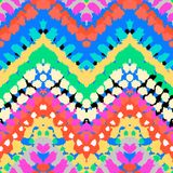 Multicolor hand drawn pattern zigzag. Striped hand painted vector seamless pattern with ethnic and tribal motifs, zigzag lines, brushstrokes and splatters of vector illustration