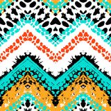 Multicolor hand drawn pattern zigzag Royalty Free Stock Images