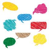 Multicolor hand drawn speech bubbles Stock Photos