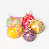Multicolor hand painted easter eggs. Multicolored chicken eggs. Green, red, yellow, purple eggs. Multicolor hand painted easter eggs Royalty Free Stock Photos