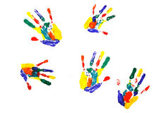Multicolor hand print. On white stock photography