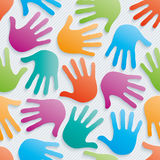 Multicolor handprints 3d seamless wallpaper. Royalty Free Stock Photo