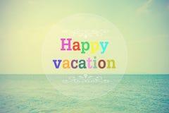 Multicolor of Happy vacation on calm sea Stock Image