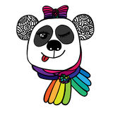 Multicolor head of smile Panda with bow color of rainbow Stock Images