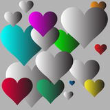Multicolor hearts with gray background vector illustration