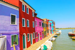 Multicolor houses. Beautiful multicolor houses in the heart of island Burano, Venice, Italy Stock Photography