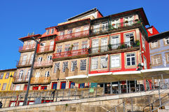 Multicolor houses of riviera in Porto Stock Images