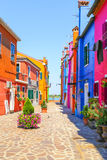 Burano house. Entrance of a colorful apartment building in burano venice italy Royalty Free Stock Images