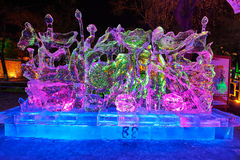 The multicolor ice sculpture. The photo was taken in Zhaolin park   Harbin city Heilongjiang province,China Royalty Free Stock Photo